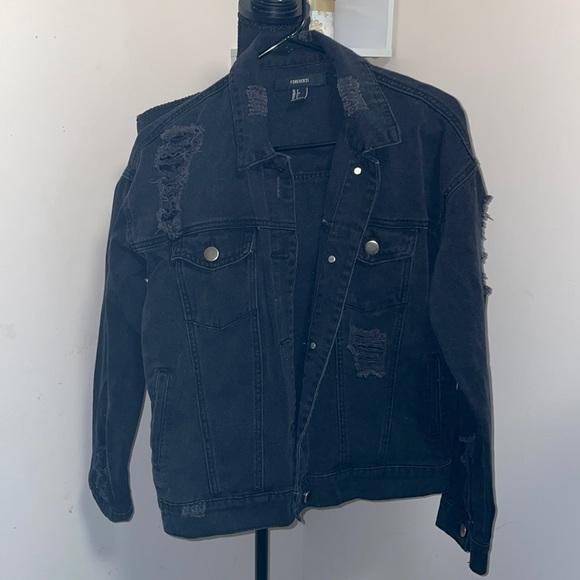 F21 black distressed jean jacket